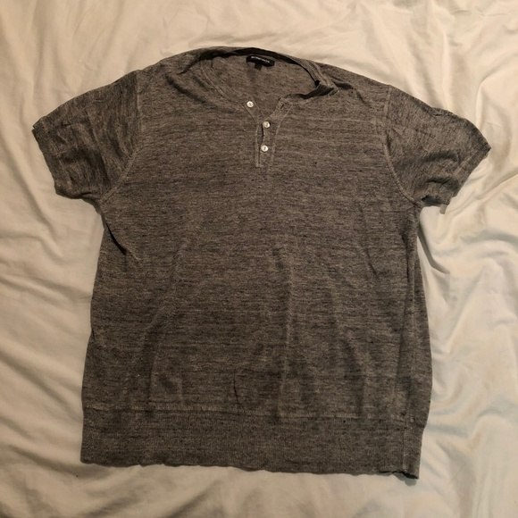 8387380b Bonobos Shirts | Grey Short Sleeve Linen Henley Shirt | Poshmark